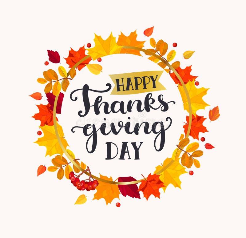 Letras de día felices de la acción de gracias en marco stock de ilustración