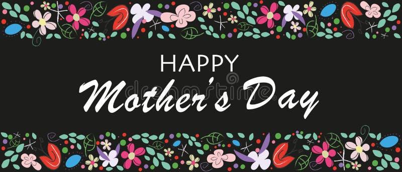 Letras de día felices de madres con las flores Fondo floral elegante del negro de la tarjeta de felicitación del día de madres stock de ilustración