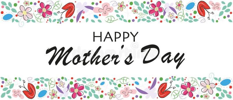 Letras de día felices de madres con las flores Tarjeta de felicitación floral elegante del día de madre libre illustration
