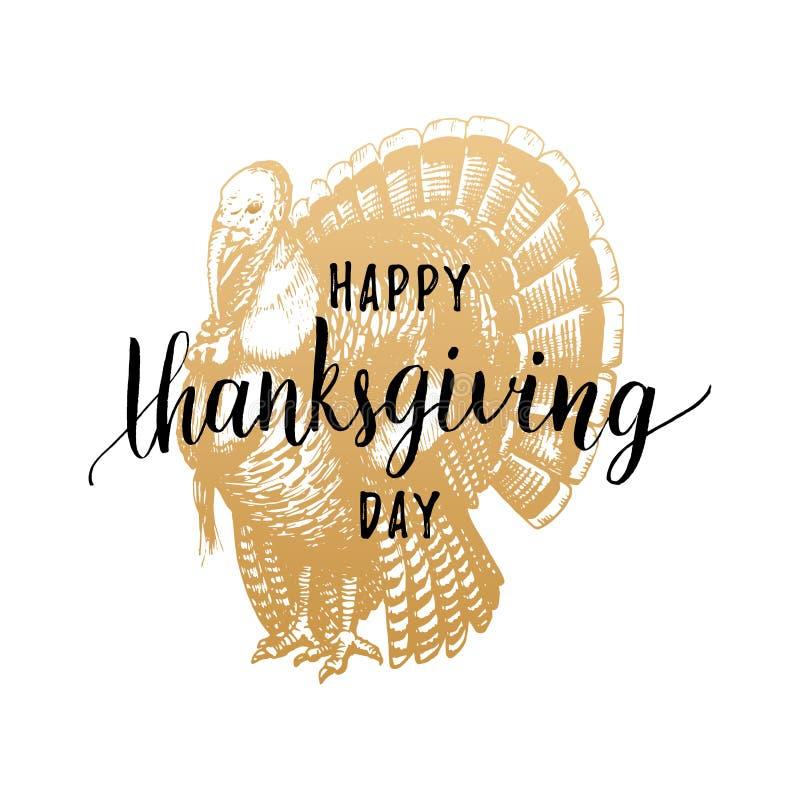 Letras de día de la acción de gracias con el ejemplo festivo del pavo libre illustration