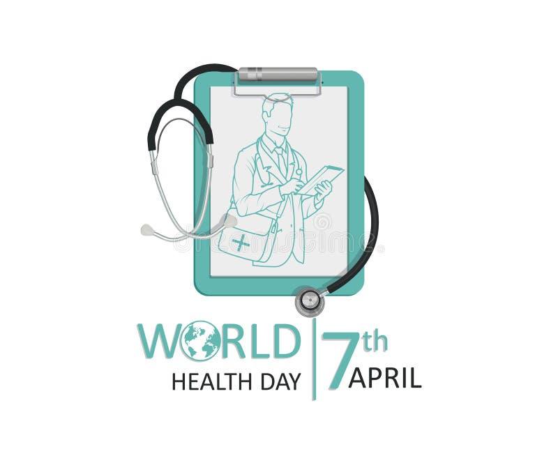 Letras de día de la salud de mundo ilustración del vector