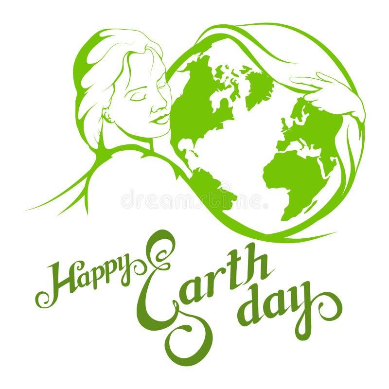 Letras de Día de la Tierra Concepto de la ecología con tierra ilustración del vector