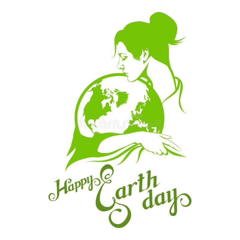 Letras de Día de la Tierra Concepto de la ecología con tierra libre illustration