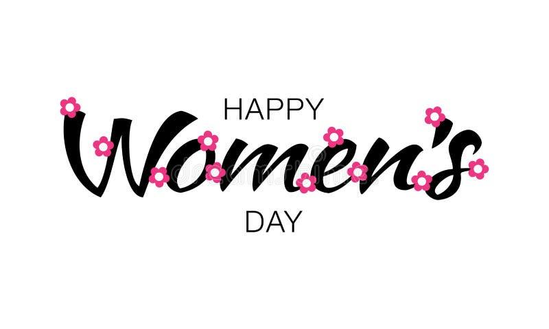 Letras de día para mujer felices negras en el fondo blanco con las flores rosadas Vector la ilustración de una tarjeta de felicit ilustración del vector