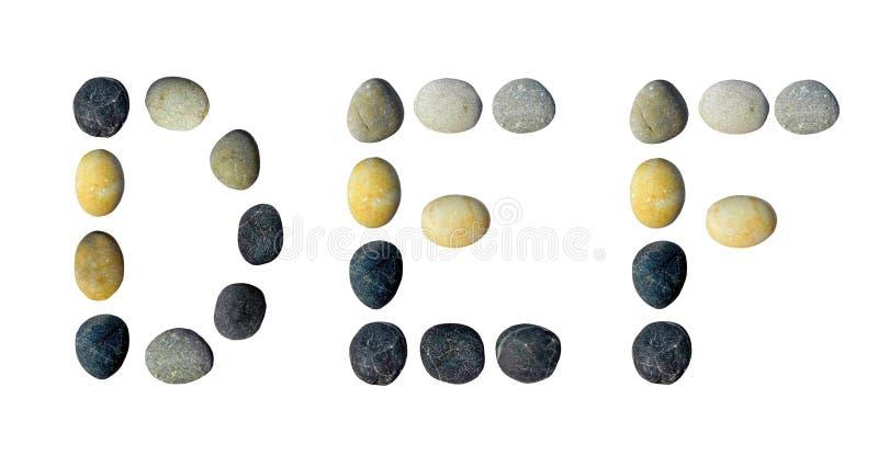 Letras de DEF feitas dos seixos ilustração stock