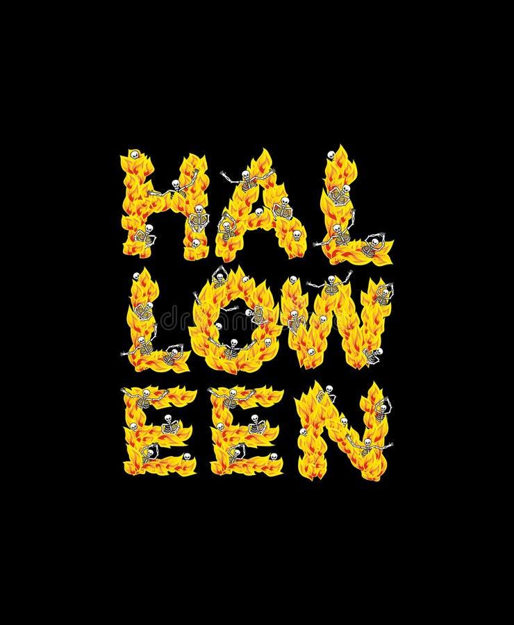 Letras de Halloween del fuego Esqueletos en infierno Pecadores en infierno libre illustration