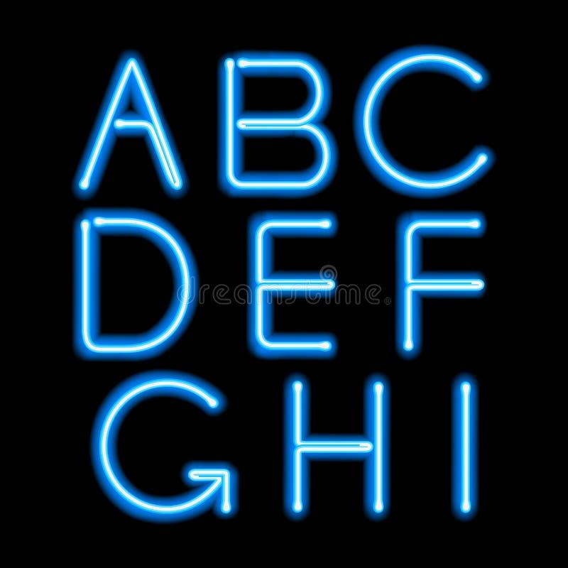 Letras de incandescência azuis da luz de néon ajustadas ilustração do vetor