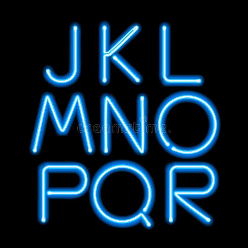 Letras de incandescência azuis da luz de néon ajustadas ilustração royalty free