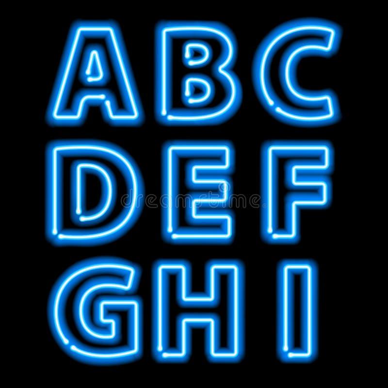 Letras de incandescência azuis da luz de néon ajustadas ilustração stock