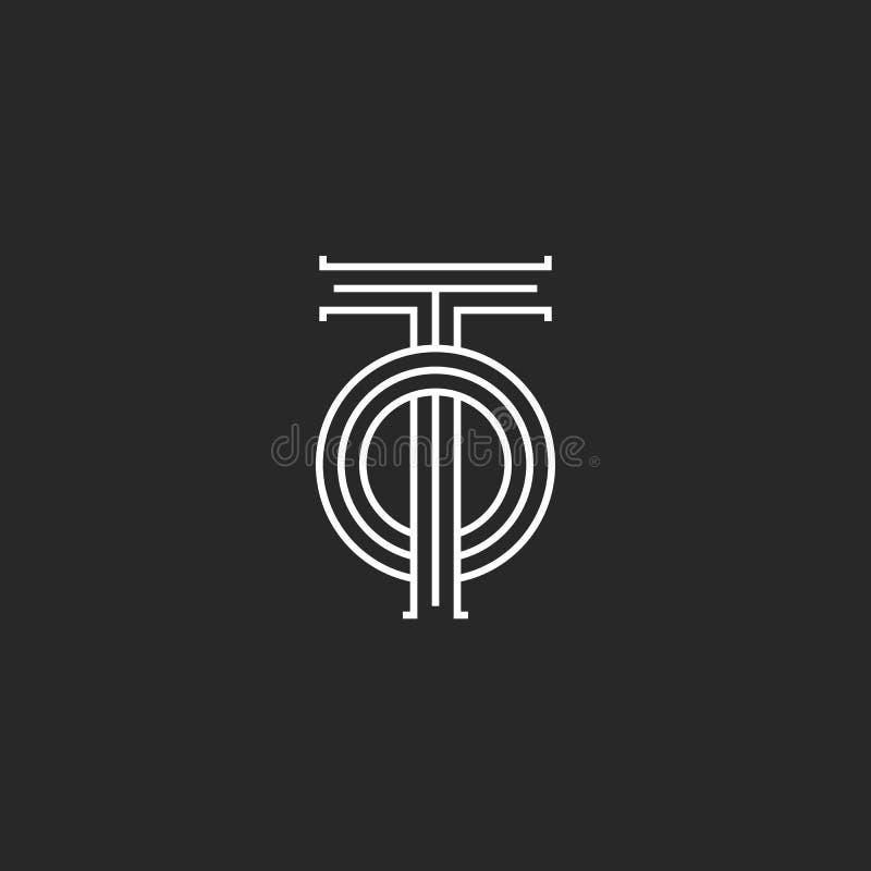 Letras de iniciales al monograma del logotipo, coincidiendo dos líneas diseño linear de las letras T y del paralelo de O, emblema ilustración del vector