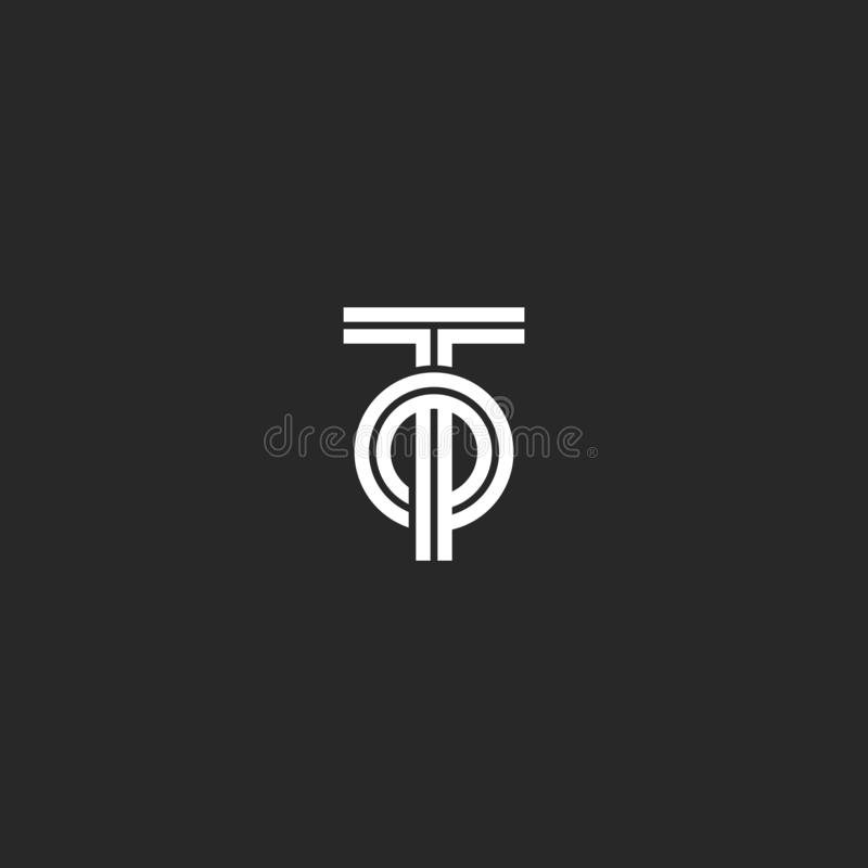 Letras de iniciales A o monograma creativo del logotipo de OT, coincidiendo dos líneas forma geométrica de las letras T y del par ilustración del vector