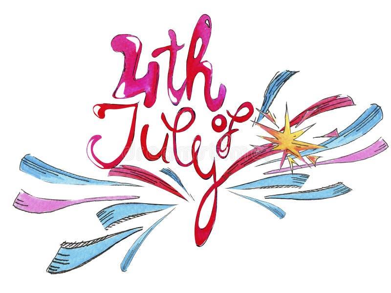 Letras de la acuarela, enhorabuena el Día de la Independencia en julio ilustración del vector