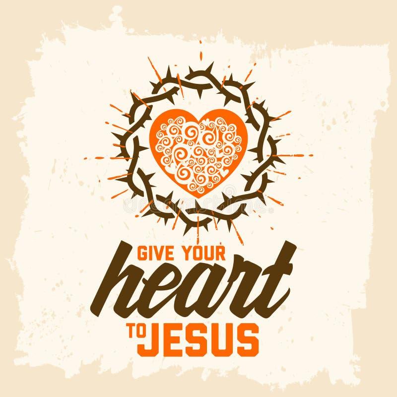 Letras De La Biblia Christian Art Dé Su Corazón A Jesús Corona De Espinas Y  Del Corazón Ilustración del Vector - Ilustración de biblia, jesús: 122614075