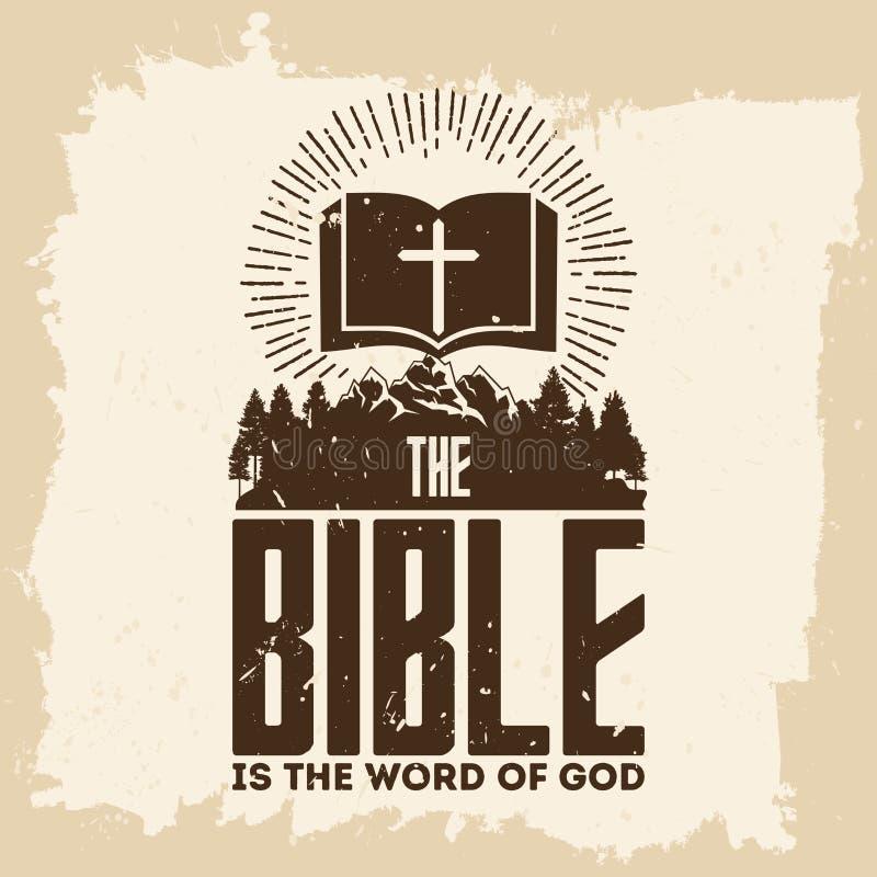 Letras de la biblia Christian Art La biblia es la palabra de dios stock de ilustración