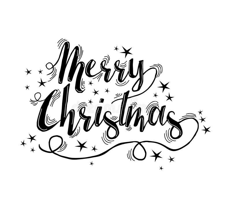 Letras de la cita de la Feliz Navidad con las estrellas stock de ilustración