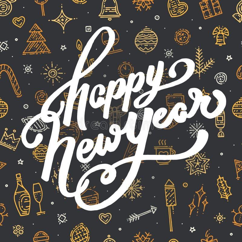 Letras de la Feliz Año Nuevo en fondo negro ilustración del vector