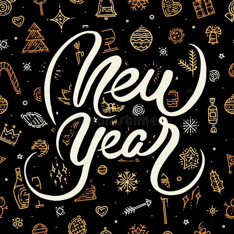 Letras de la Feliz Año Nuevo en fondo negro stock de ilustración