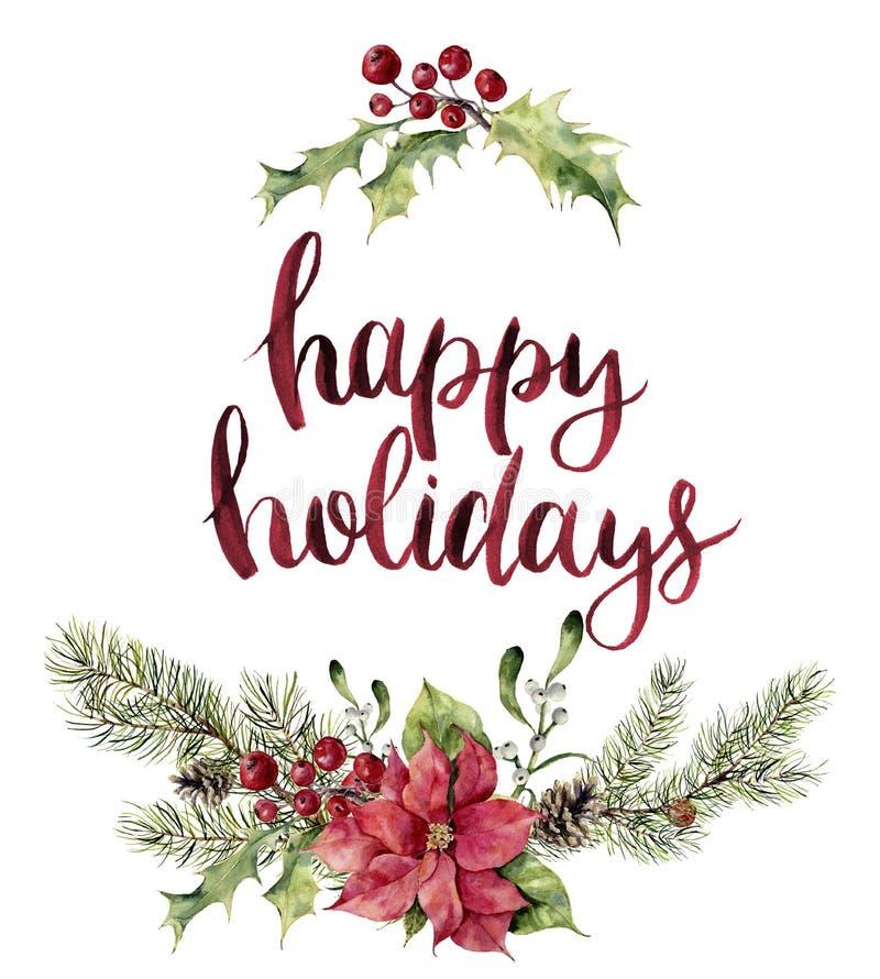 Letras de la Feliz Navidad del witn de la impresión floral de la Navidad de la acuarela Rama de árbol del Año Nuevo con la poinse libre illustration