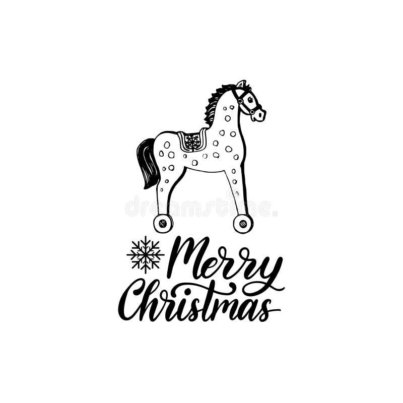 Letras de la Feliz Navidad en el fondo blanco Ejemplo de madera dibujado mano del caballo del juguete del vector ilustración del vector