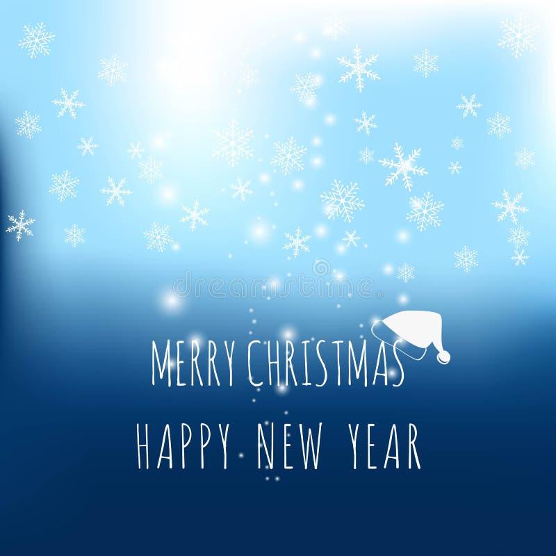Letras de la Feliz Navidad en fondo abstracto del vector y luces borrosas que brillan efecto del bokeh con los copos de nieve en  ilustración del vector