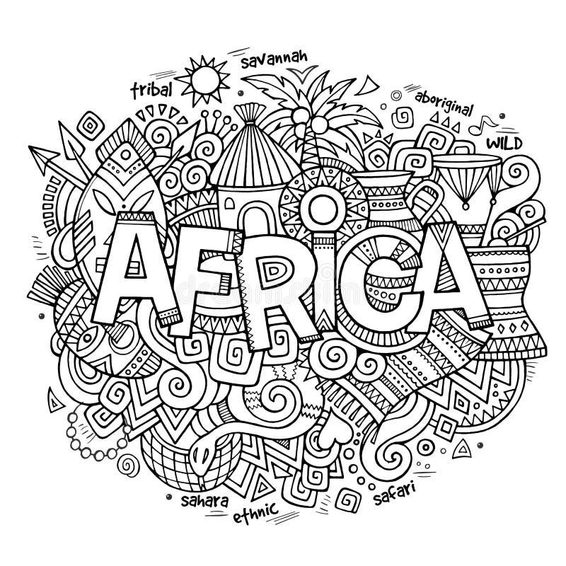 letras de la mano de África y elementos étnicos de los
