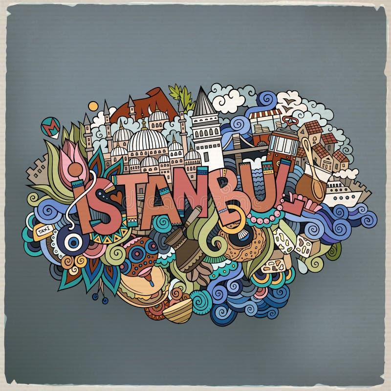 Letras de la mano de la ciudad de Estambul y elementos de los garabatos stock de ilustración