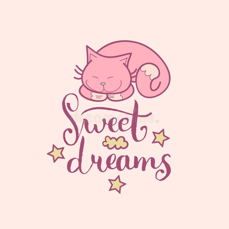 Letras de la mano de los sueños dulces Ejemplo lindo del vector con símbolos de la historieta Fondo infantil para el sitio del be stock de ilustración