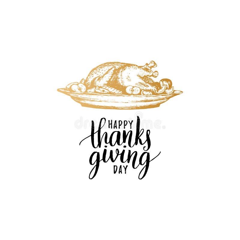 Letras de la mano del día de la acción de gracias del vector Ejemplo del plato del pavo para la invitación o la plantilla festiva libre illustration