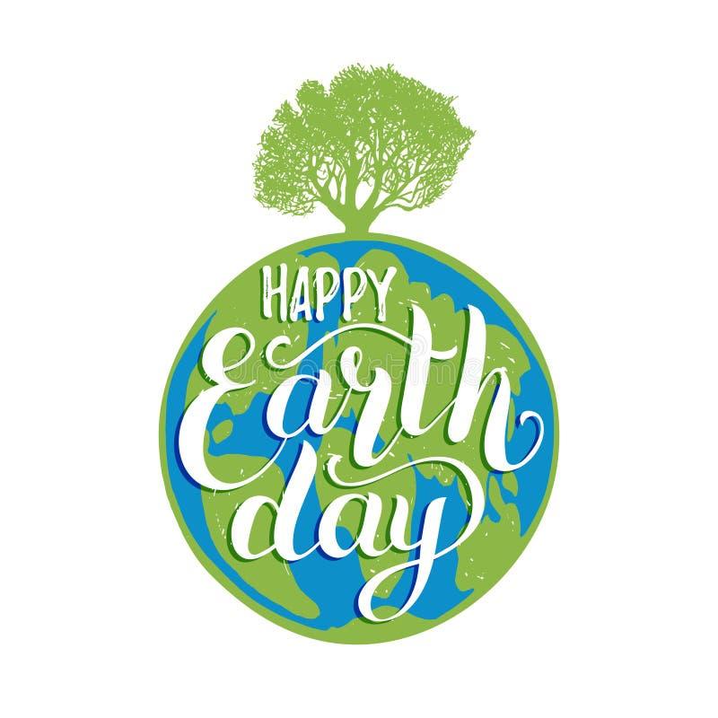 Letras de la mano del Día de la Tierra en fondo del globo Vector el ejemplo con el ejemplo de la silueta del árbol para el cartel ilustración del vector
