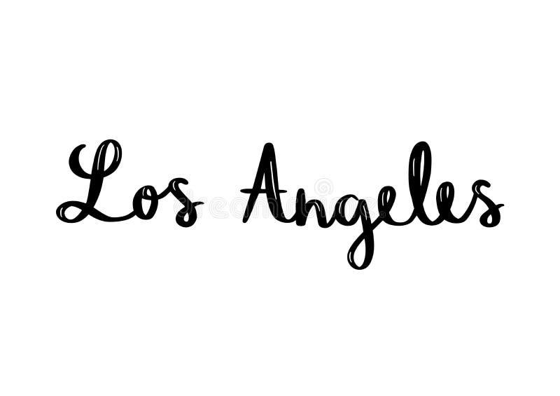 Letras de la mano de Los Angeles en el fondo blanco stock de ilustración