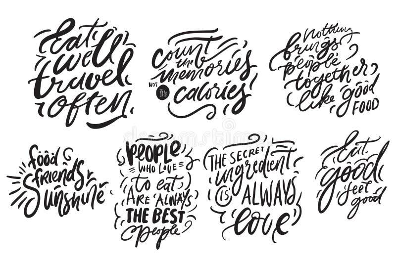 Letras de la mano para la cocina, café, menú Ilustración moderna ilustración del vector