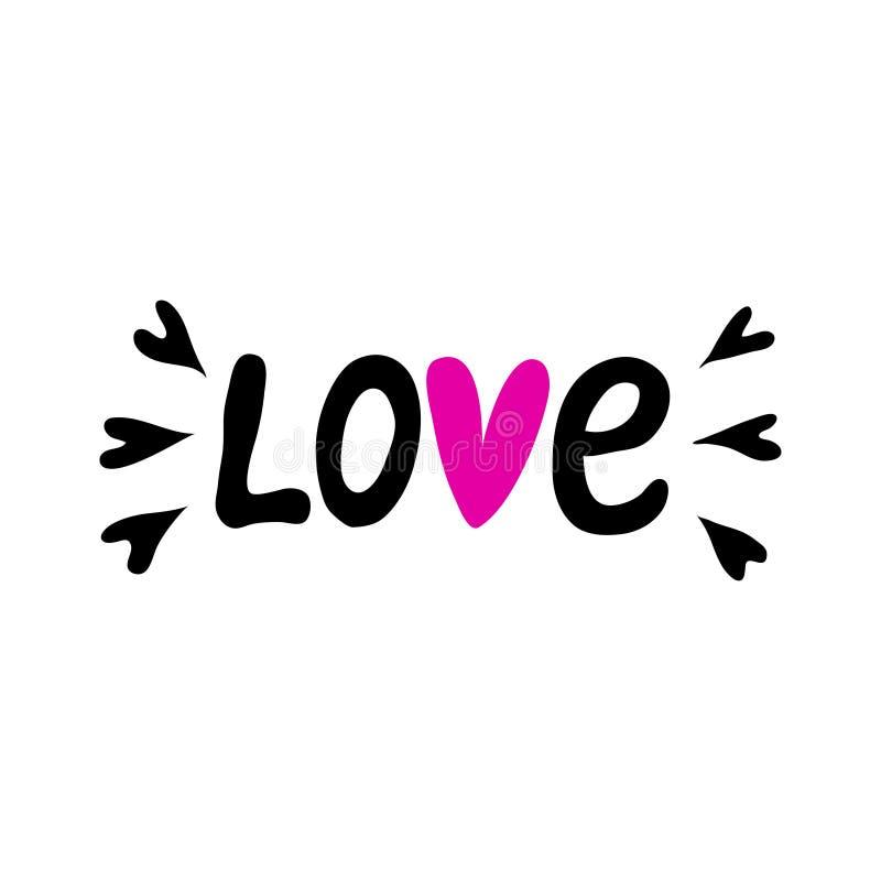 Letras de la mano para el día del ` s de la tarjeta del día de San Valentín Letras de la mano de la palabra del amor ilustración del vector