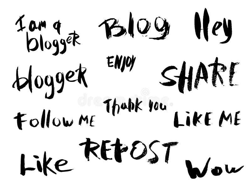 Letras de la mano para las medias redes sociales Ilustración del vector stock de ilustración