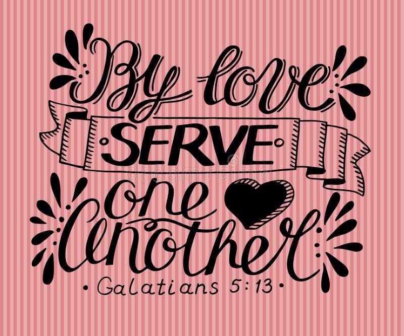 Letras de la mano por el servicio uno otro del amor libre illustration