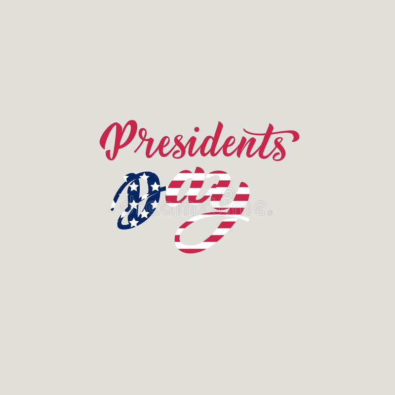 Letras de la mano de presidentes Day en los E.E.U.U. con la bandera americana y el fondo gris Diseño tipográfico Letras de la man stock de ilustración