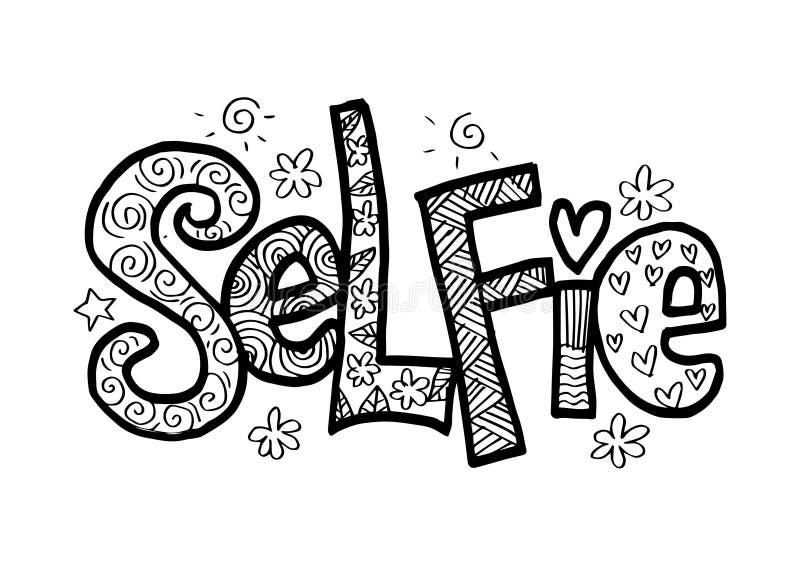 Letras de la mano de Selfie stock de ilustración