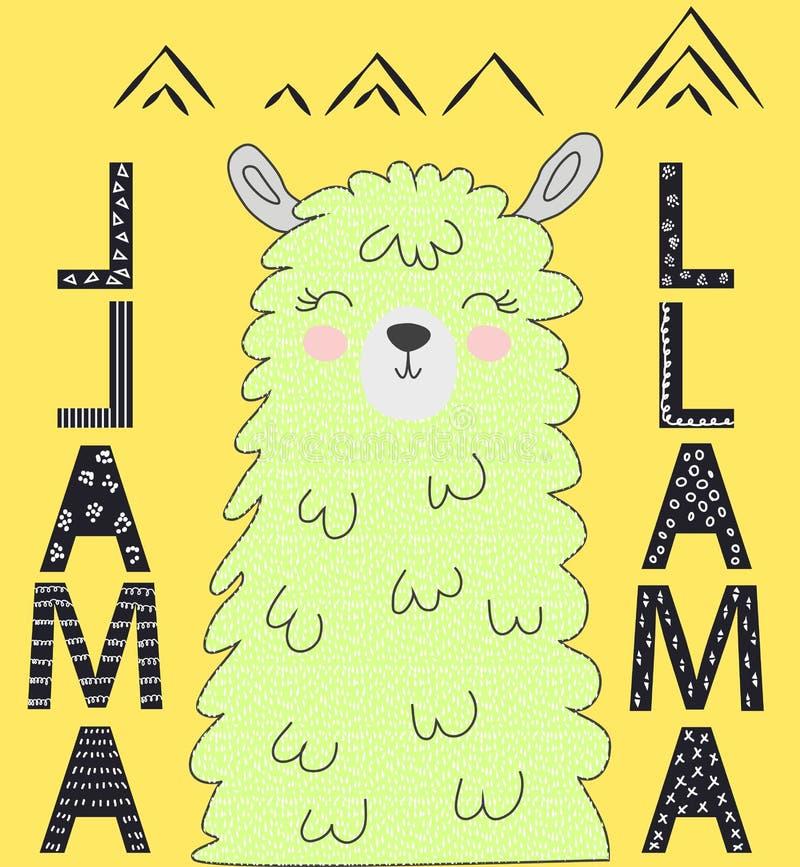 Letras de la motivaci?n sin llama del drama Alpaca del garabato o lama divertida de refrigeración del símbolo de Perú imágenes de archivo libres de regalías