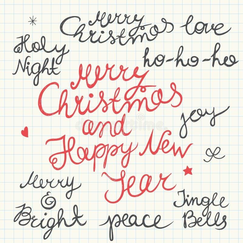 Letras de la Navidad manuscrita y del Año Nuevo aisladas en el fondo blanco stock de ilustración