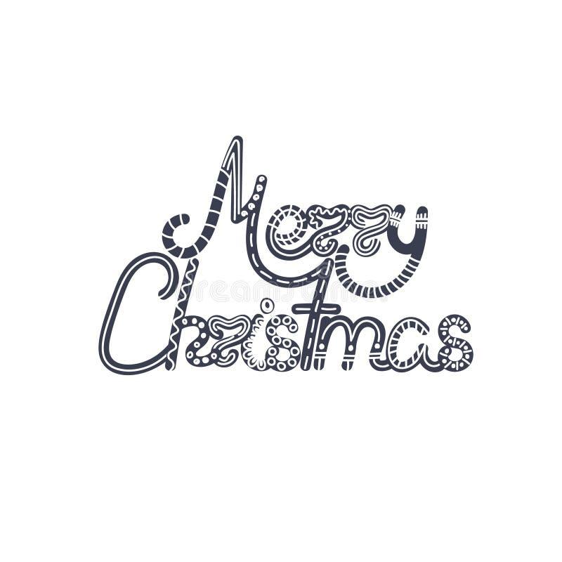 Letras de la Navidad Navidad y Año Nuevo holiday doodle Texto dibujado mano Elementos de la decoración Diseño artístico creativo ilustración del vector