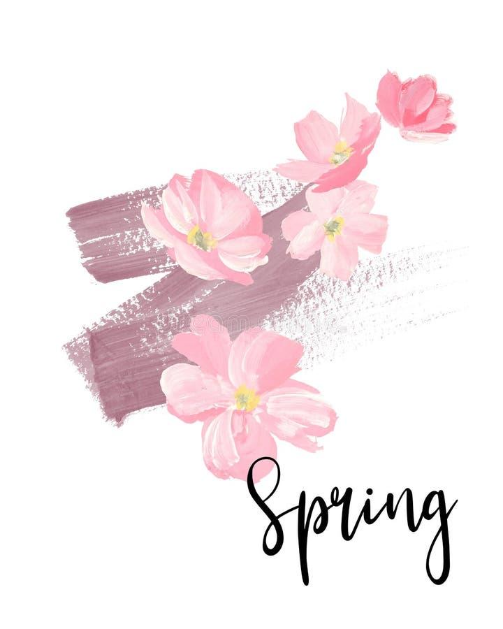 Letras de la primavera tarjetas de felicitación, banderas y tarjeta de la invitación con las flores de Sakura del flor Coloree el stock de ilustración