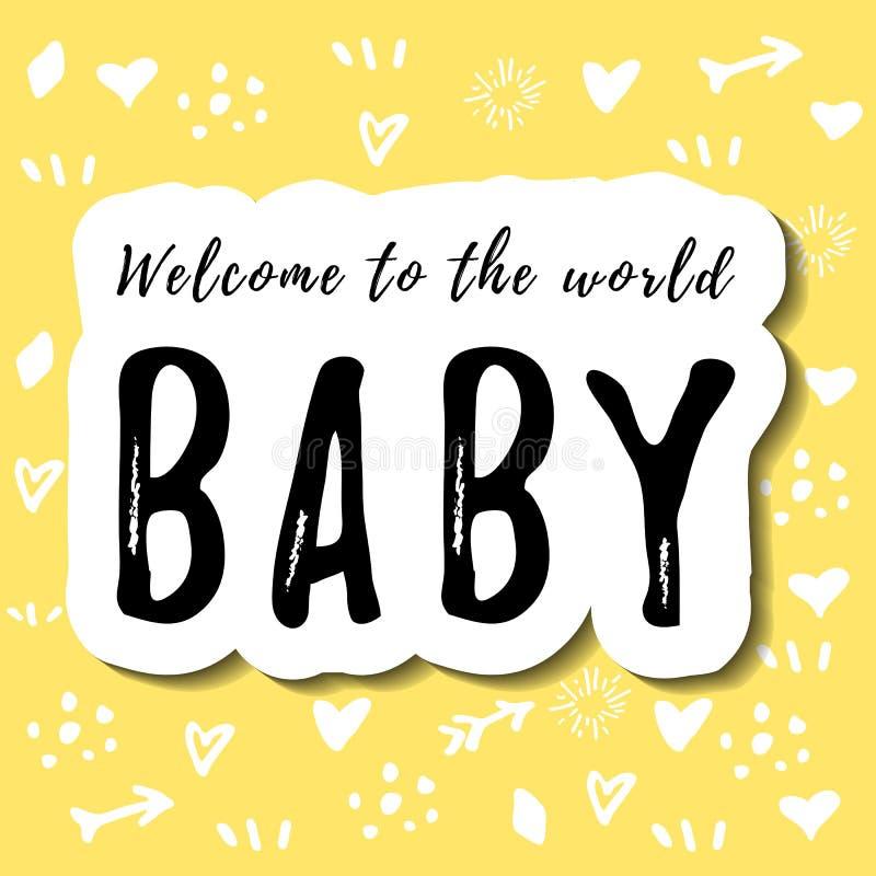 Letras de la recepción al bebé del mundo en negro con el esquema blanco en fondo amarillo con los dibujos blancos libre illustration