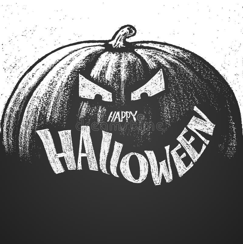 Letras de la tiza del feliz Halloween con la calabaza stock de ilustración