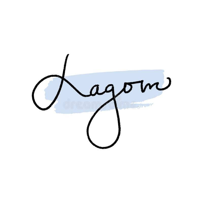 Letras de LAGOM Palabra sueca, forma de vida de Suecia Caligrafía dibujada mano ilustración del vector
