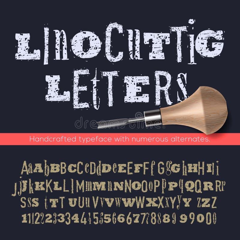 Letras de Linocut e números, alfabeto ilustração stock