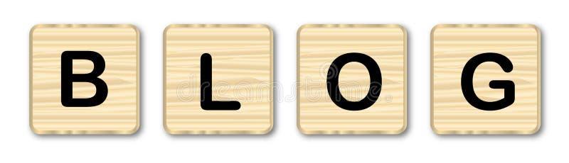 Letras de madeira do blogue ilustração stock