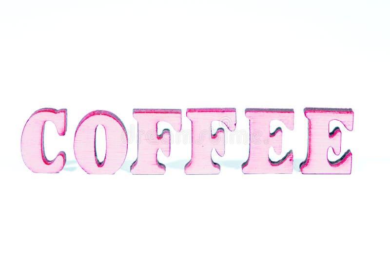 Letras de madera de Coffe foto de archivo libre de regalías