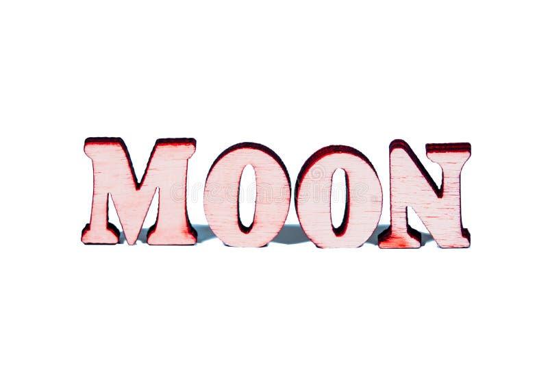 Letras de madera de la luna imagen de archivo