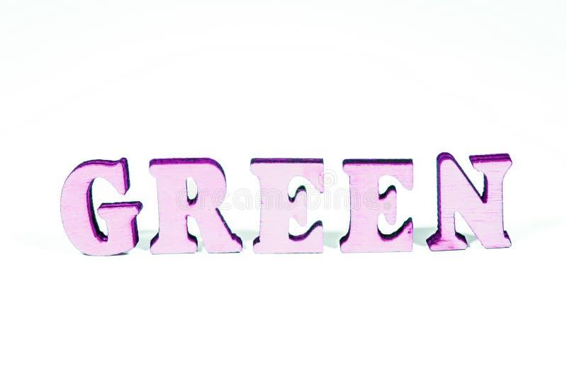 Letras de madera verdes fotografía de archivo