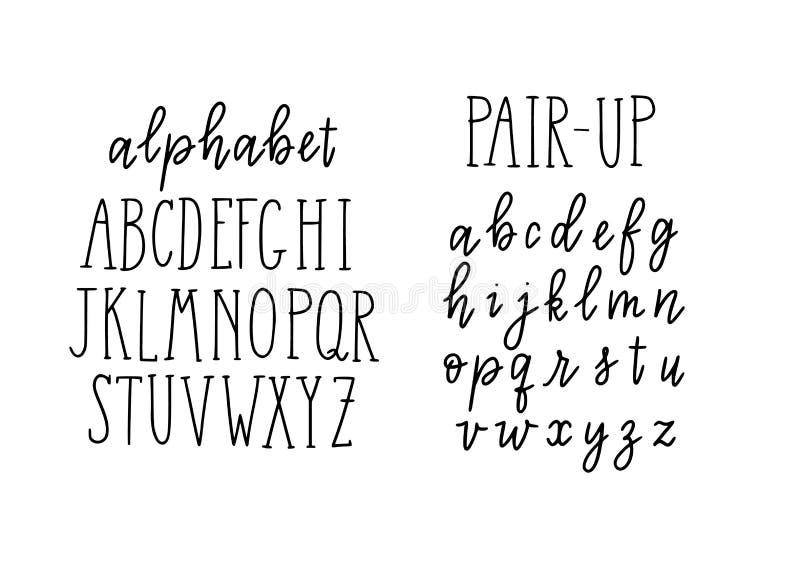 Letras de moda del alfabeto Mayúsculas de bloque y minúscula de la escritura Pares infantiles para meter en diario, carteles del  ilustración del vector