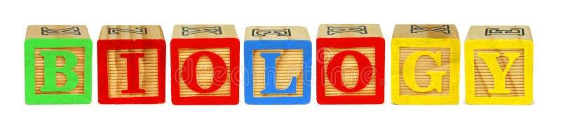 Letras de molde de madera que deletrean BIOLOGÍA sobre blanco fotos de archivo libres de regalías